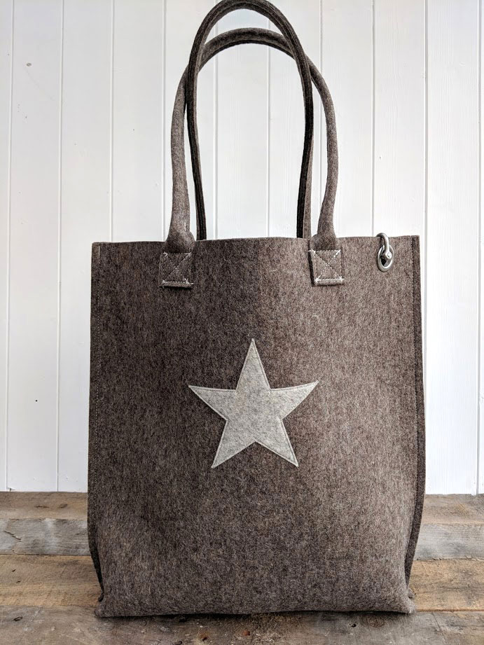 Grey Brown Felt Bag Dr Bean S Bags
